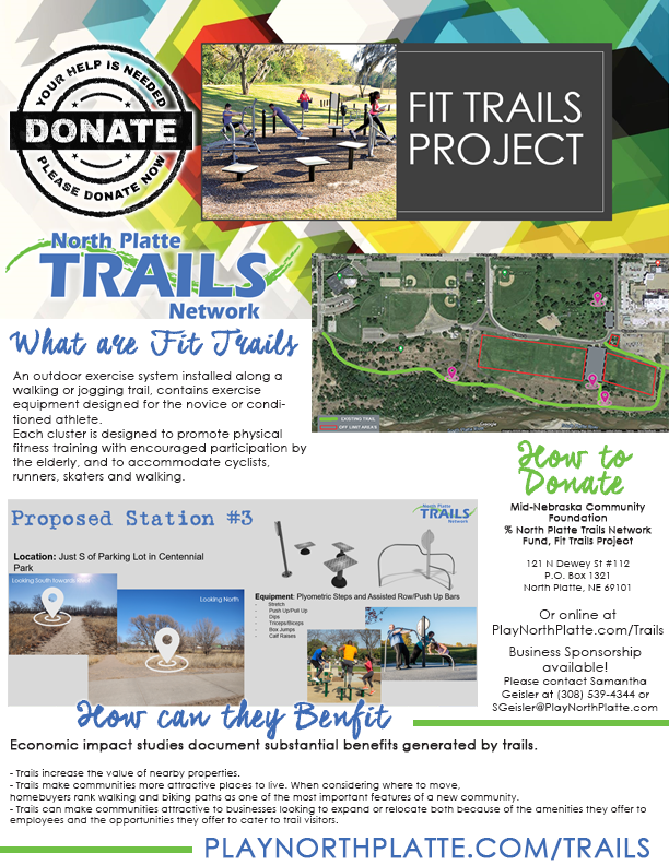 north platte trails network, trails, play north platte, north platte area sports commission, donate, non-profit, fit trails, outdoor, exercise equipment, north platte, centennial park, ne, nebraska